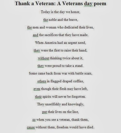 Veterans Day Poems for student