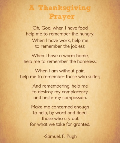 Thanksgiving Prayer For Family